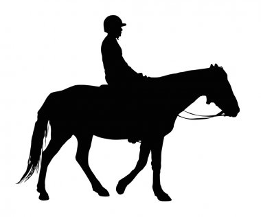 Silhouette of Boy with Protective Helmet Riding Horse