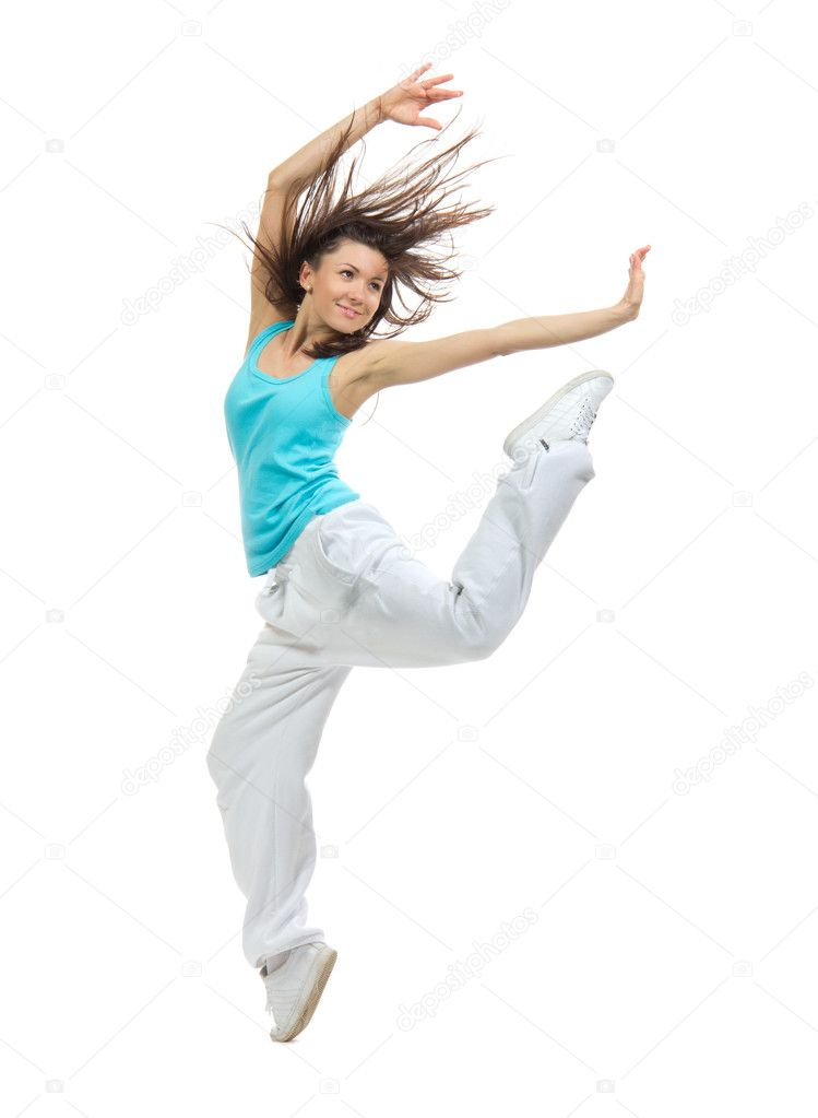 Modern Hip Roof House Plan By Mark Stewart: Modern Slim Hip-hop Style Teenage Girl Jumping Dancing