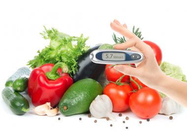 Diabetes concept glucometer for glucose level blood test