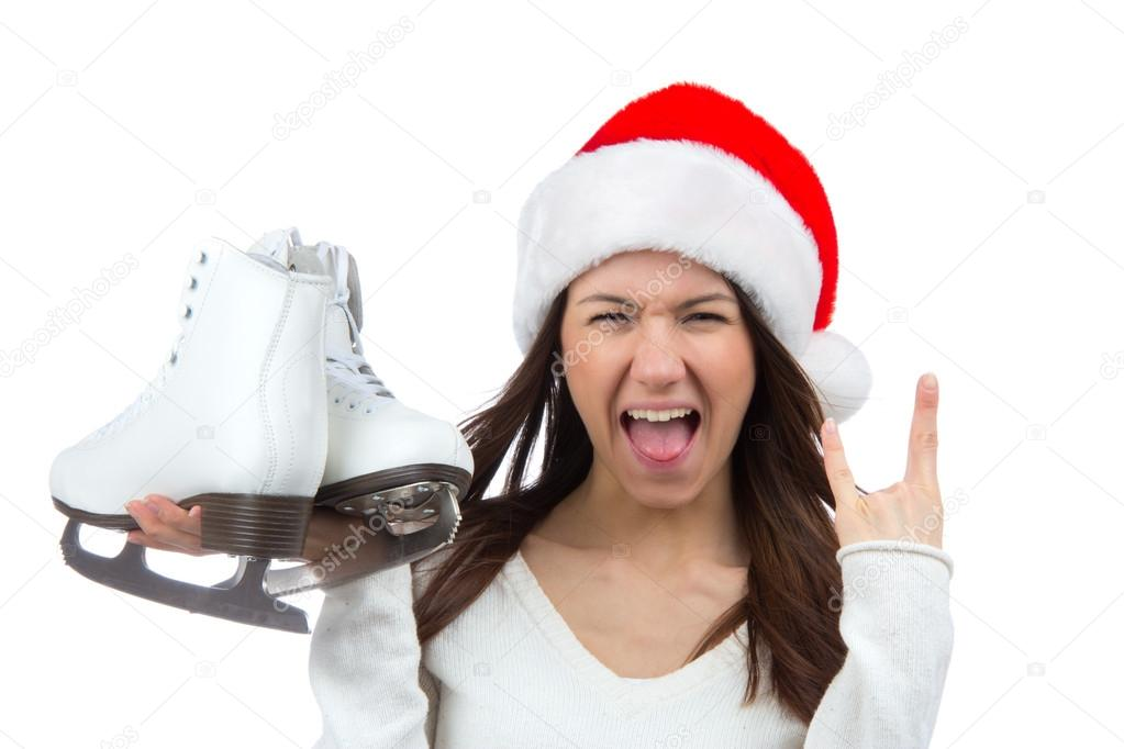 b38cc47330a Woman with ice skates getting ready for ice skating winter sport activity  in сhristmas santa hat screaming or yelling isolated on a white background  — Photo ...