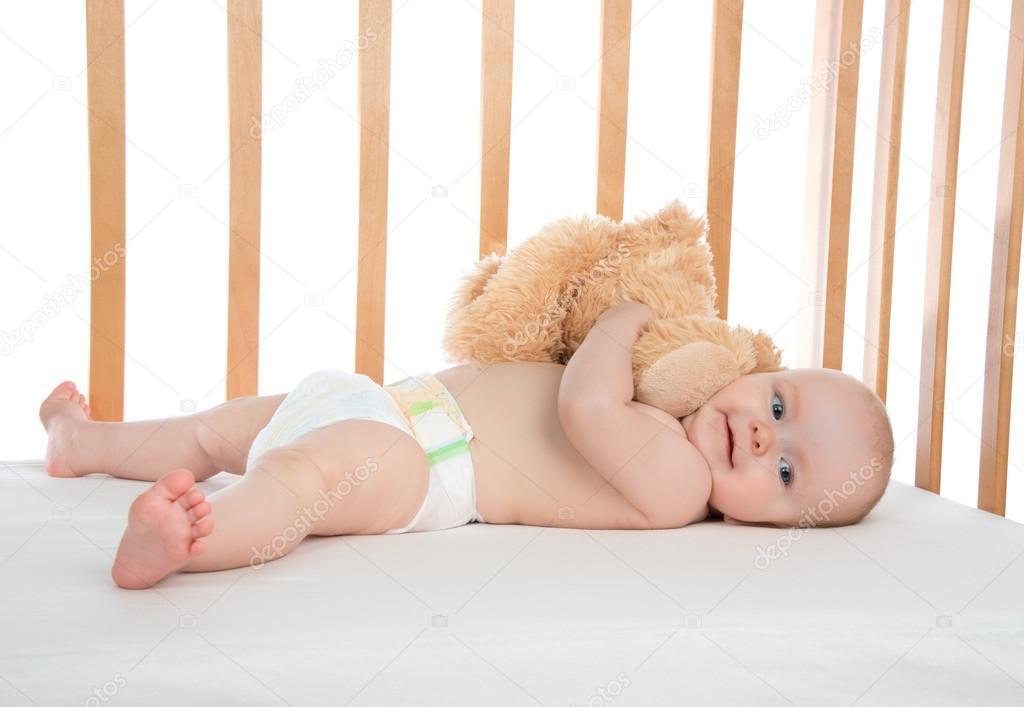 bambino di bambino neonato bambino ragazza sdraiata a letto nel ...