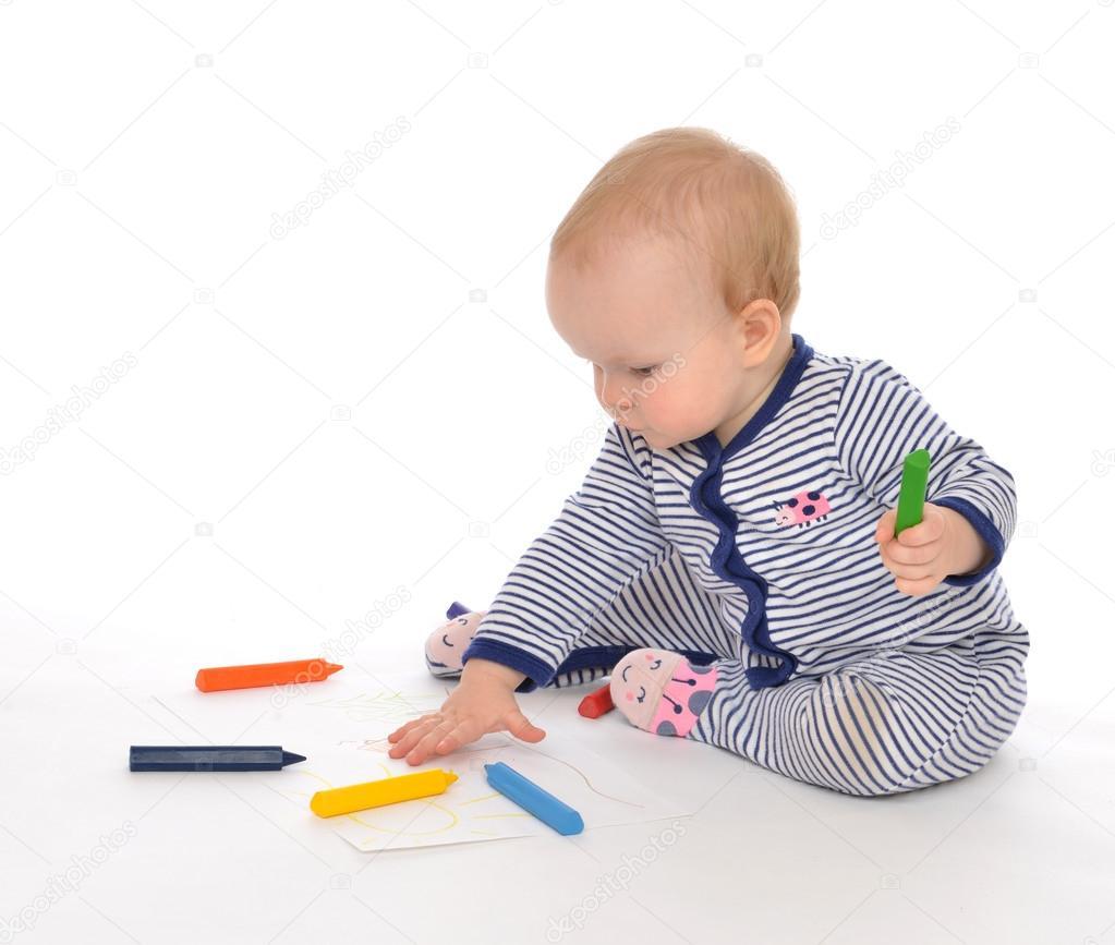 çizim Boyama Renk Pe Ile Oturan Bebek çocuk Bebek Toddler Stok