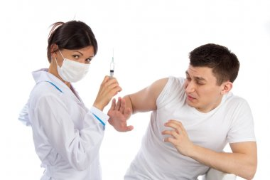 Nurse syringe needle and man scary of injection vaccination phob