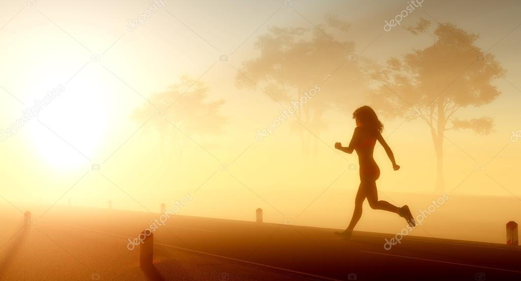 The girl runs.