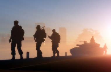 Silhouettes of the military in the sunlight. stock vector