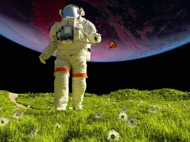 Two astronaut on the green grass.
