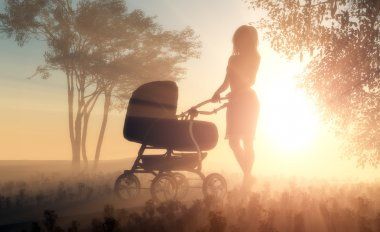 The woman with a baby carriage