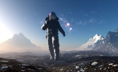 Astronaut on the planet.