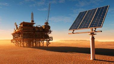 Solar battareya station and the old oil-producing desert. stock vector