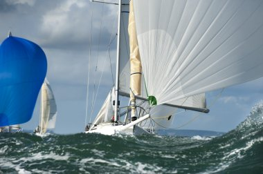 Yacht bow in the swell