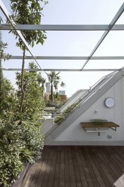 Modern terrace with wood floor