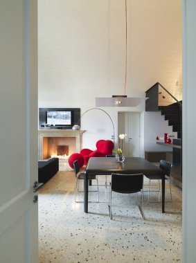 Fireplacemodern living room with