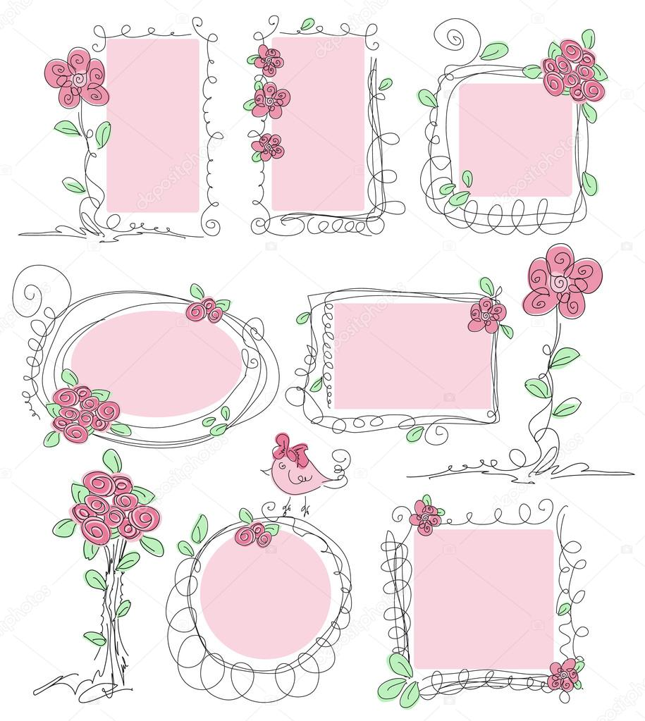 Floral vector doodle frames — Stock Vector © antuanetto ...