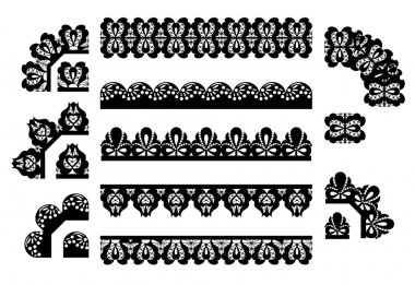Vector set of lace trims. seamless borders stock vector