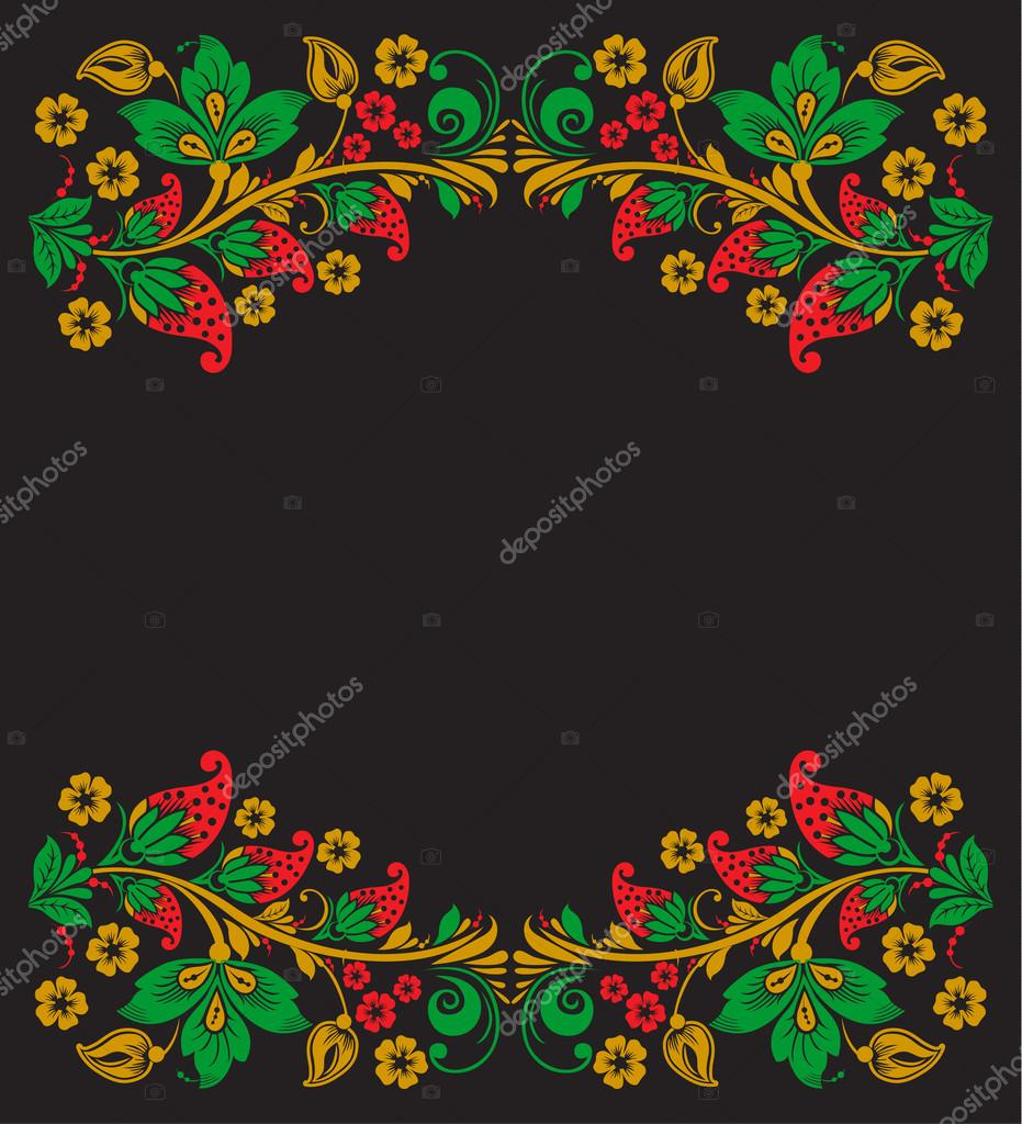 Vector background of floral pattern with traditional russian flower ornament. Khokhloma.
