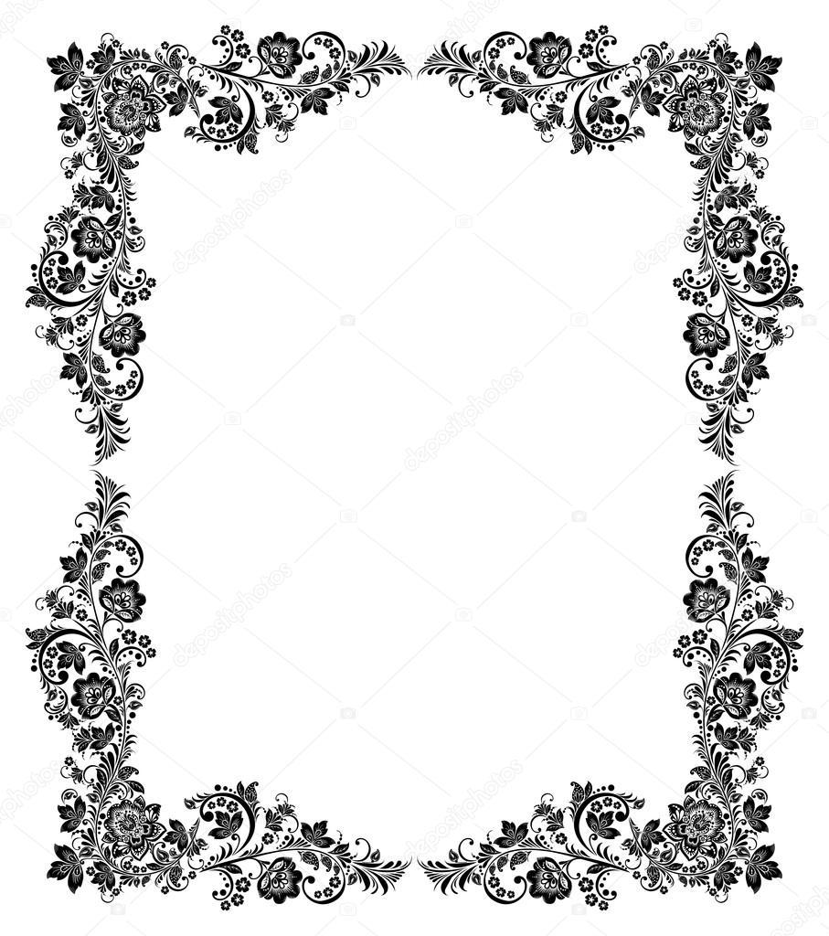 marco vintage blanco y negro — Vector de stock © antuanetto #51273753
