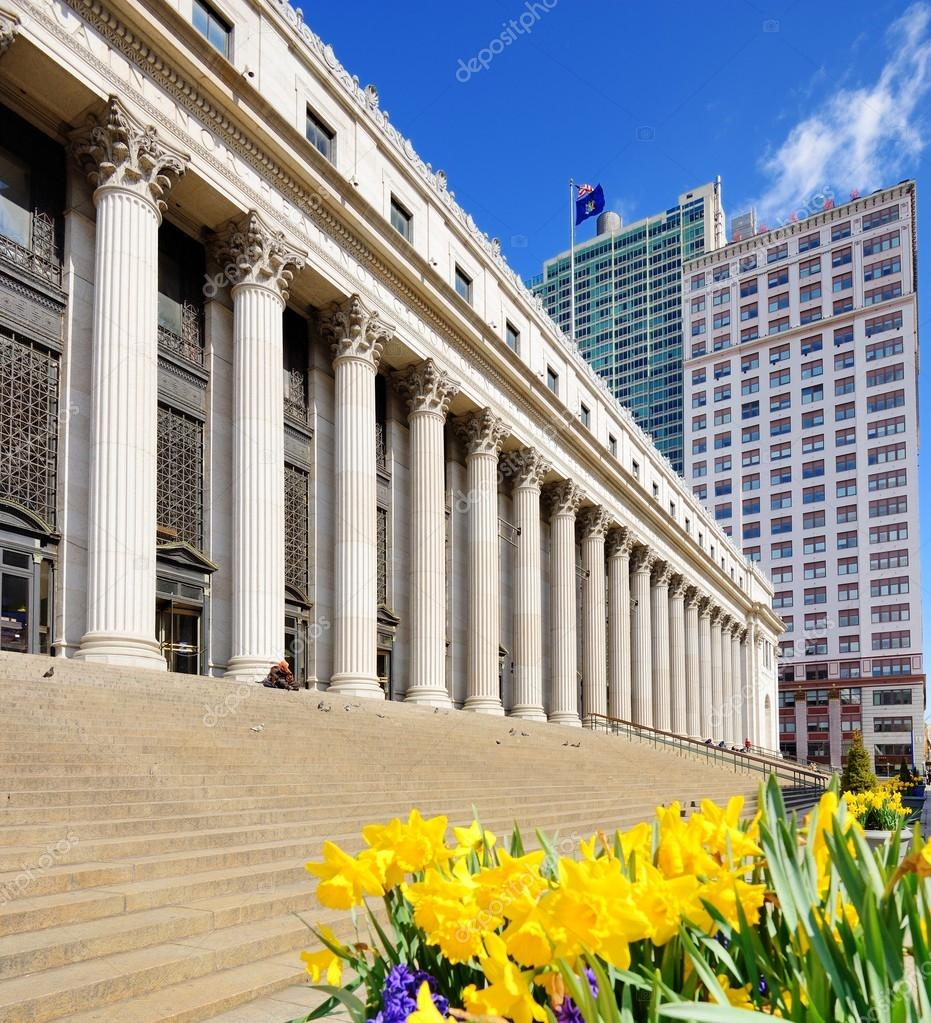 James Farley Post Office April in New York, NY. The building dates from 1812 and is being adaptively converted to house a concourse for Amtrak.