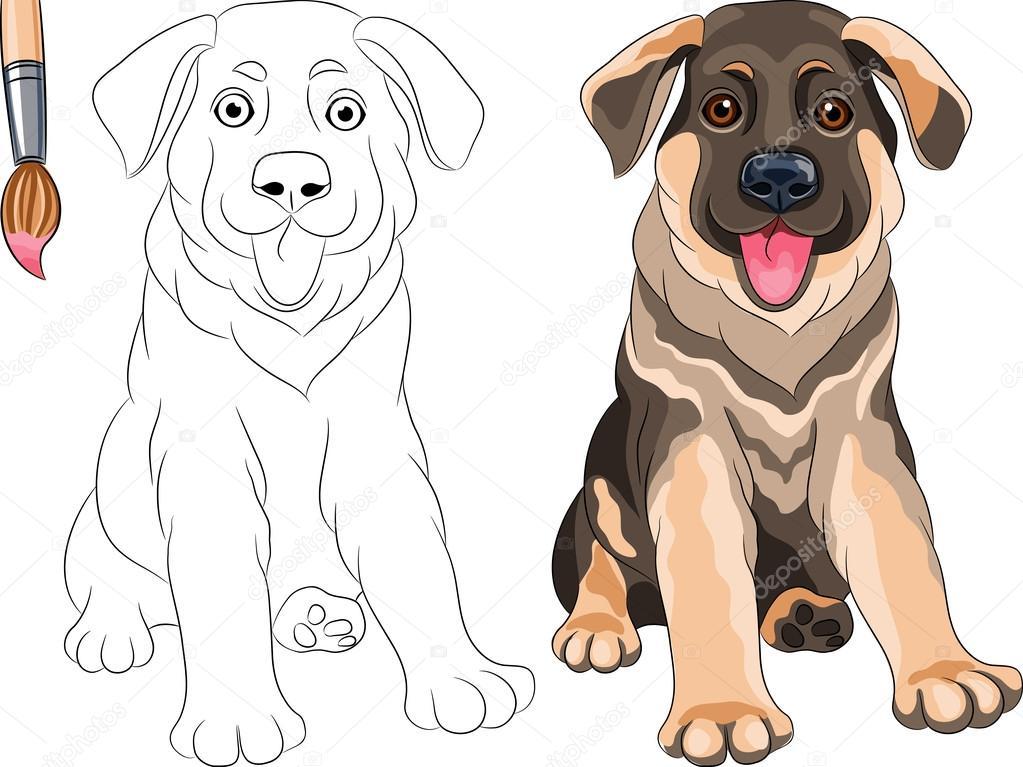 Vector para colorear libro de sonrientes cachorro perro pastor ...