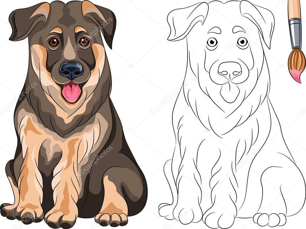 Вектор раскраска улыбаясь немецкая овчарка щенка собака ...