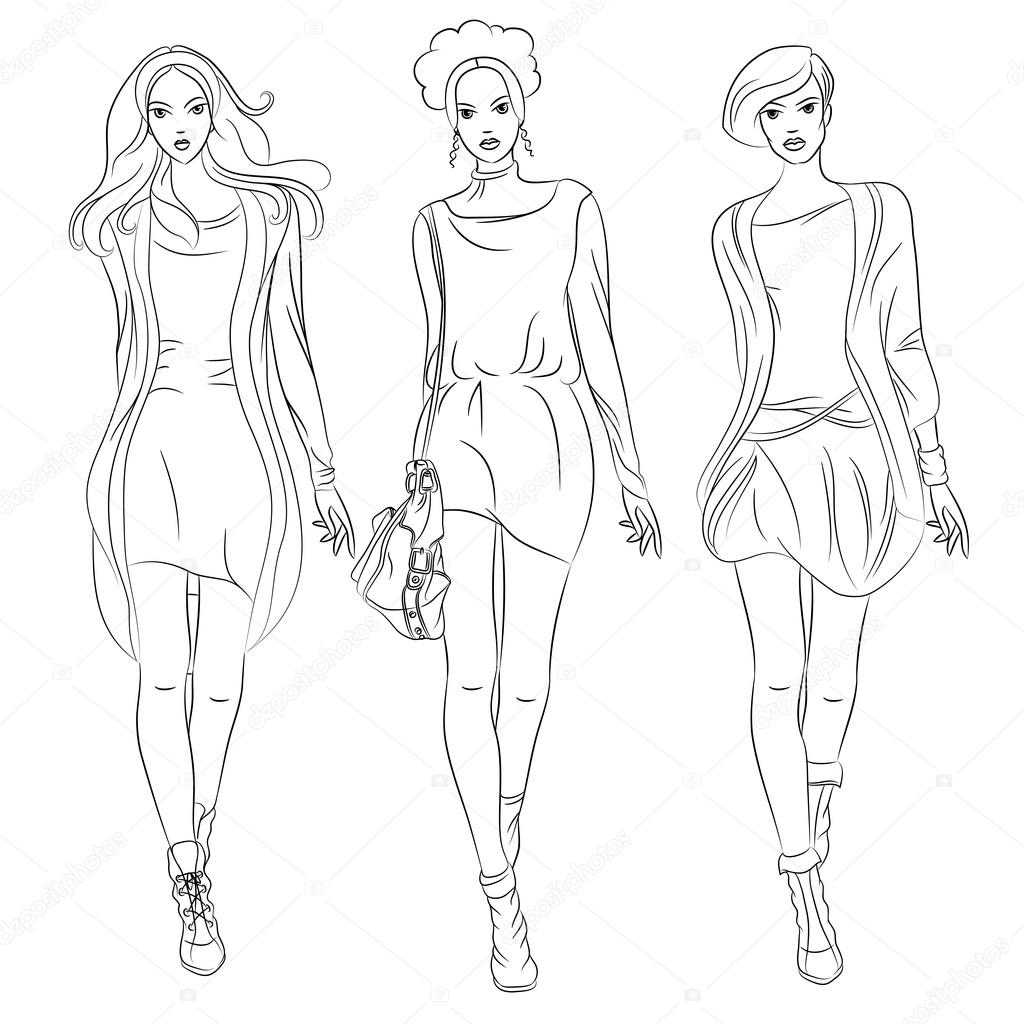 Stock Illustration Vector Beautiful Fashion Girls Top on Tegne Show 1
