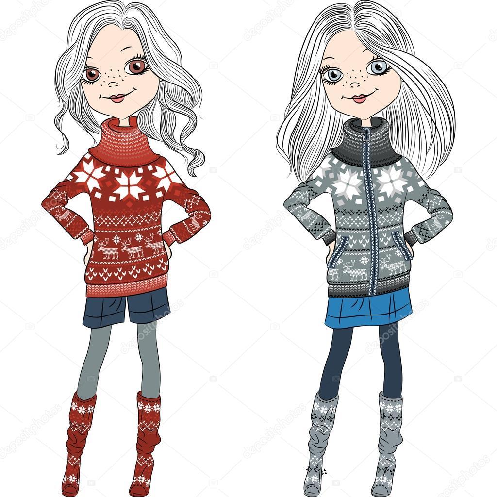 Vector chicas moda hipster suéteres de punto — Archivo Imágenes ...