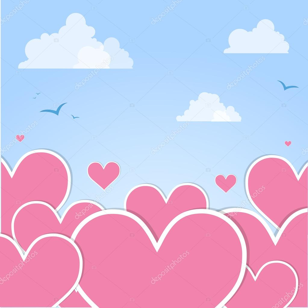 Pink hearts in the sky. Vector