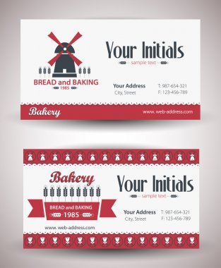 Vector retro vintage business card for bakery business.