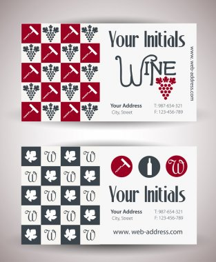 Vector retro vintage business card for wine business.