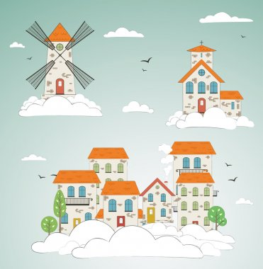 Old city background. Vector
