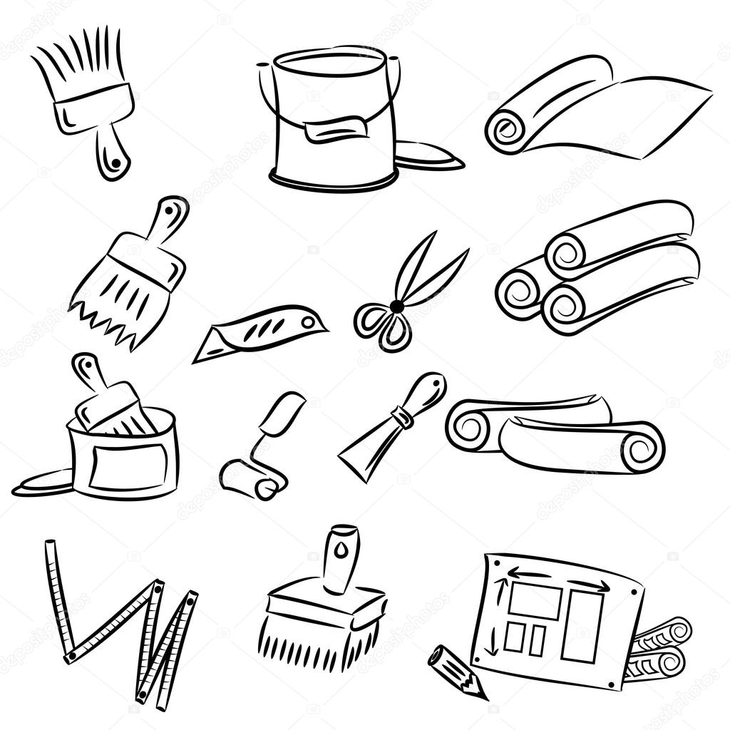 dessin anim dessins d 39 outils bricolage image vectorielle gcpics 13864675. Black Bedroom Furniture Sets. Home Design Ideas