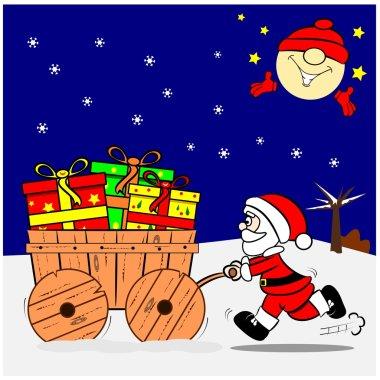A cartoon Santa pushing a wooden cart