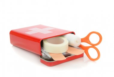 An open travel first aid kit
