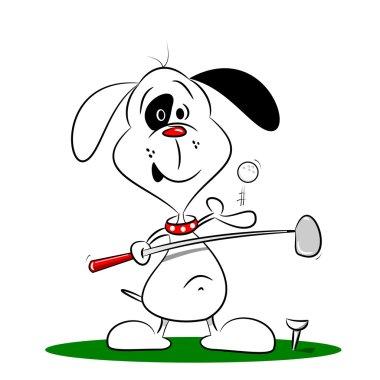 A cartoon dog playing golf