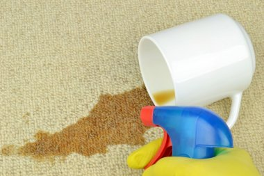 Removing a coffee stain from a carpet