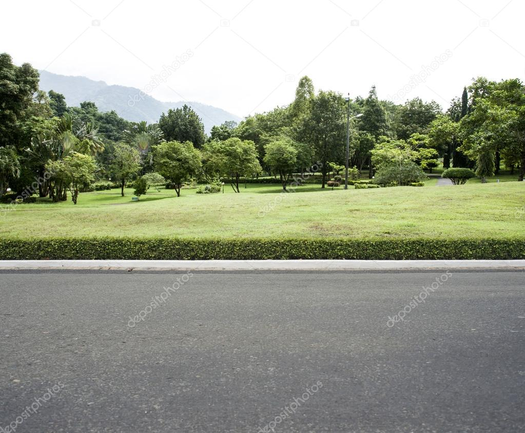 road garden background