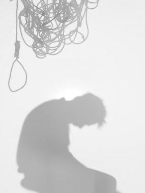 man with tangled thoughts, silhouette
