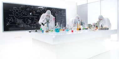 working in a chemistry lab