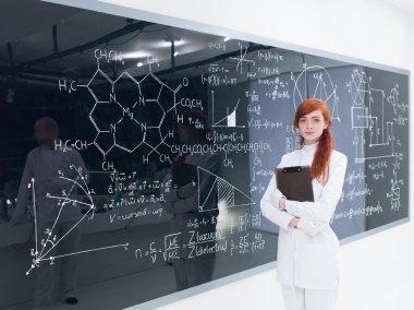 schoolgirl at the blackboard