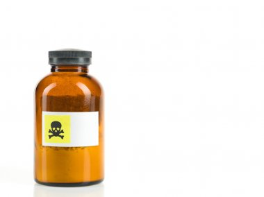 bottle containing toxic powder