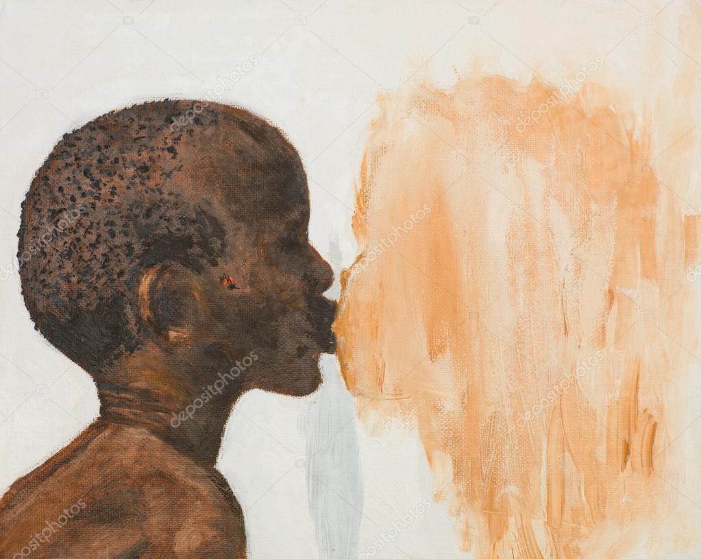 Hand getrokken schilderij van jongen meisje kussen u stockfoto