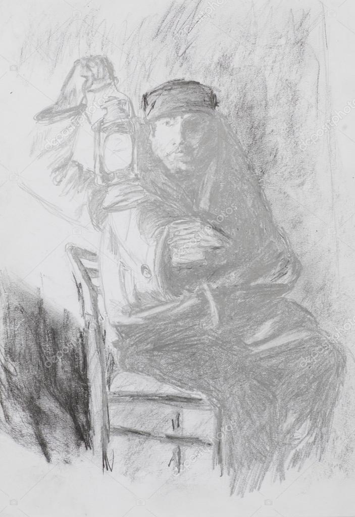 Drawing Of Man Holding Vintage Lantern Stock Photo