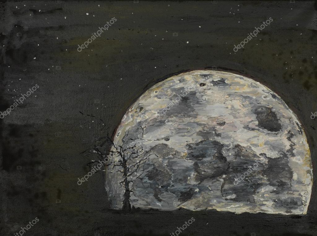 Surrealistische volle maan il schilderij u stockfoto