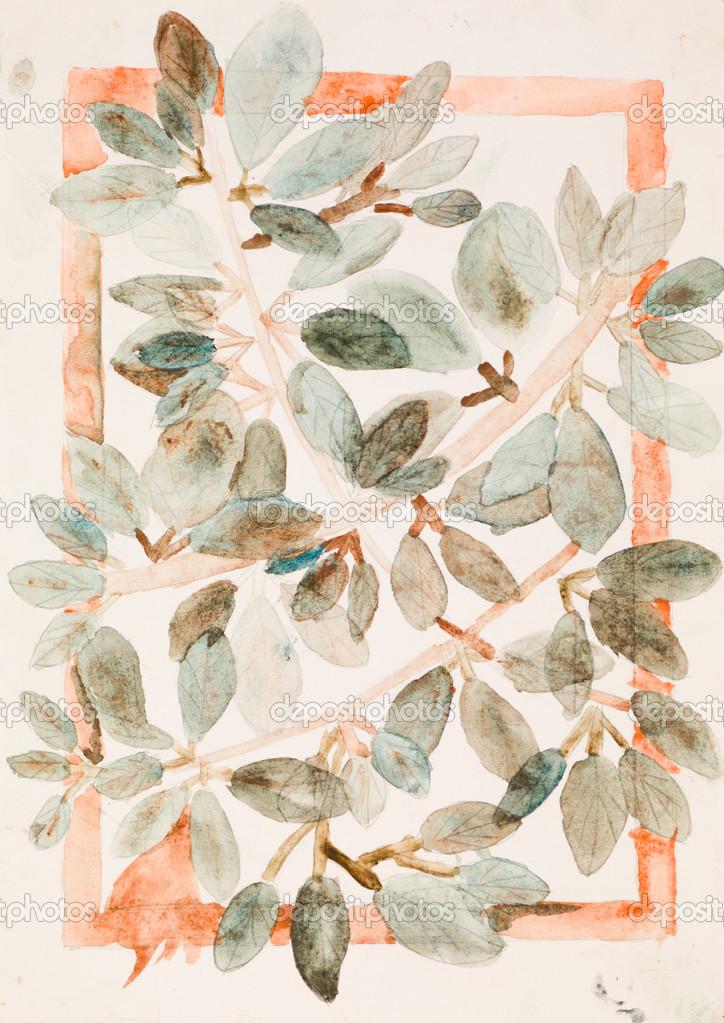 hojas en las ramas, Pintura acuarela — Fotos de Stock © shotsstudio ...