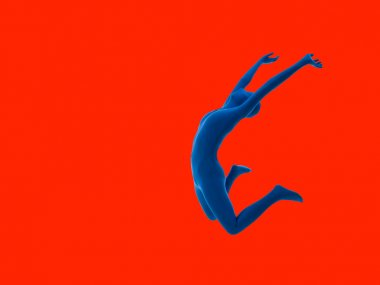 faceless woman jumping isolated