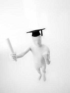 top view graduate faceless man