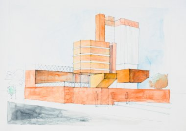 architectural sketch of modern building