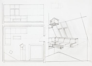 architectural blueprint of living room