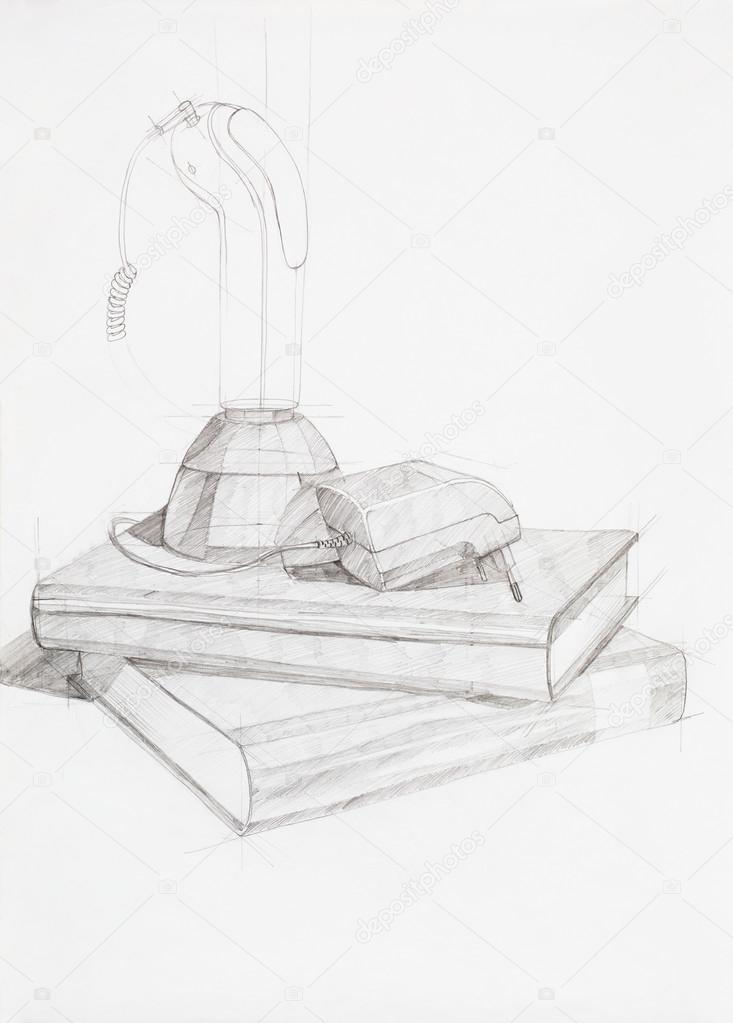 Composition With Books And Shaving Machine Stock Photo