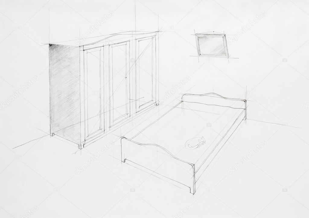 perspective architecturale de chambre à coucher — Photographie ...