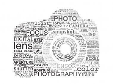 Typographic SLR camera. Photography and digital photo concept. stock vector